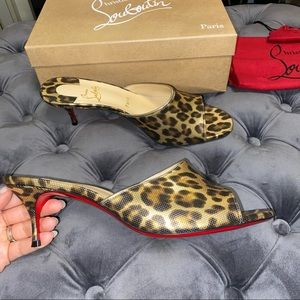 New Size 41 Christian Louboutin East Leopard Mules